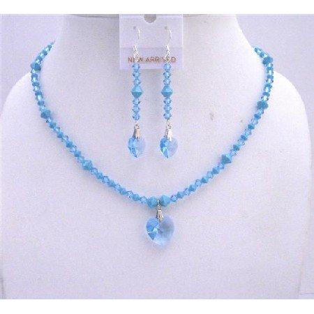 NSC540  Swarovski Aquamarine Crystals w/Aquamarine Heart Pendant & Dangling Earrings Jewelry