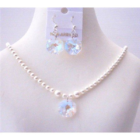 NSC500 White Swarovski Pearls Jewelry Set w/AB Crystals Octagon Pendant & Earrings Sets