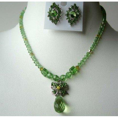 NSC319 Party Jewelry Genuine Peridot Crystals Necklace Set w/TearDrop Pendant