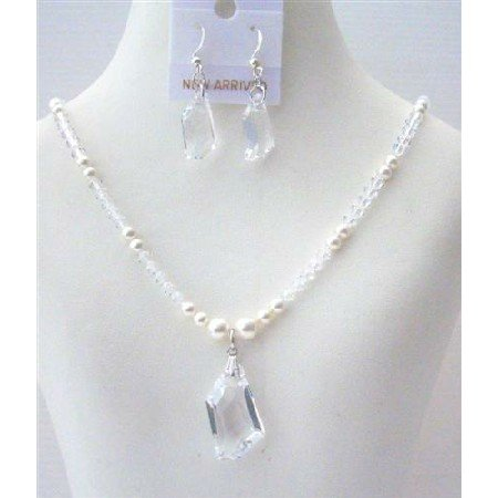 NSC501  White Pearls Swarovski clear Crystals Irregular Clear Crystals Pendant & Earrings Sets