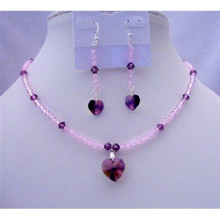 NSC398  Amethyst Crystals Heart Pendant & Earrings Genuine Swarovski Amethyst Beaded Jewelry