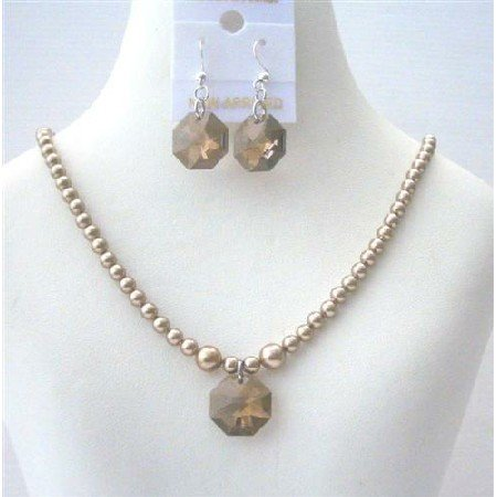 NSC499 Flower Girl Jewelry Set Bronze Pearls w/Smoked Topaz Crystals Octagon Pendant&Earrings Sets