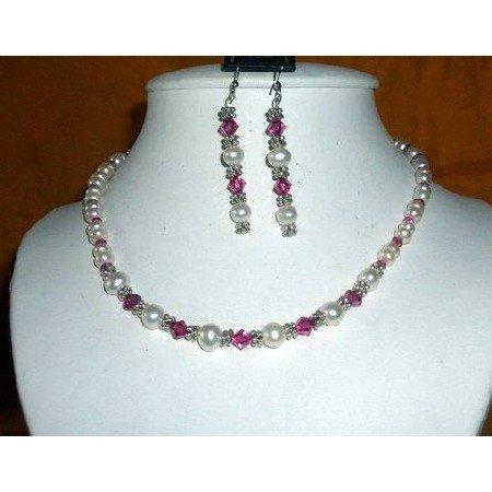 NSC158  Vintage Necklace Set of Genuine White FreshWater Pearls & Swarovski Fuschia Crystals