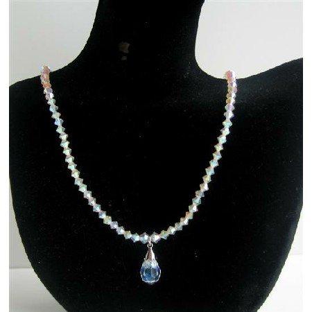 NSC450  Crystals Swarovski AB 2X Necklace With Swarovski AB Crystals Teardrop Jewelry Necklace