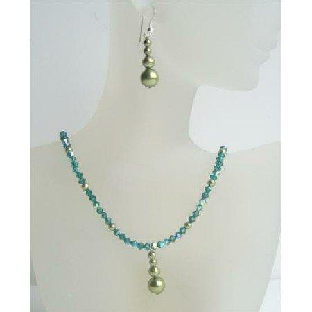NSC404  Swarovski Emerald AB Crystals Necklace w/ Swarovski Green Pearls Sterling Silver Earrings