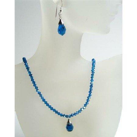 NSC410 Dark AB Sapphire Crystals Necklace w/ Tear Drop Pendant & Earrings
