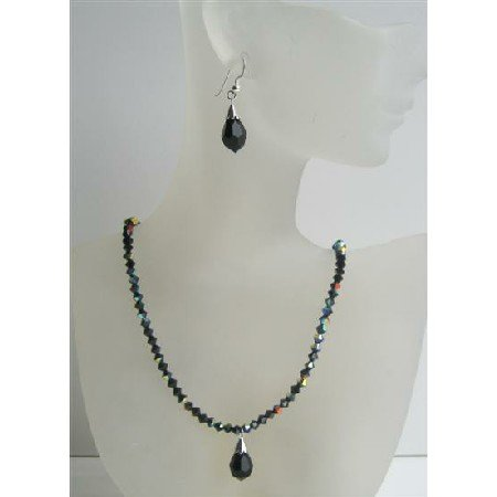 NSC420 Black Swarovski Crystals Beaded Jewelry AB Jet Sparkling Crystals Necklace Set w/Tear Drop