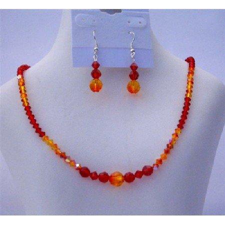 NSC456  Genuine Swarovski Crystals Necklace Set w/ Genuine Siam Red & Fire Opal Crystals