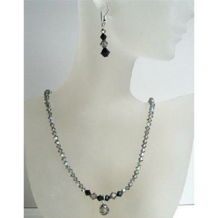 NSC419  AB Black Diamond Swarovski Crystals Necklace w/ Jet Crystals And Cute Drop Necklace Set