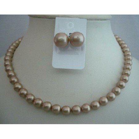 NSC361 Genuine Champagne Swarovski Pearls Necklace w/ Stud Pearls Earrings