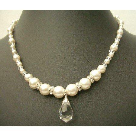 NSC374  Swarovski Clear Crystals w/ Cream Peal & Silver Rondells Teardrop Necklace