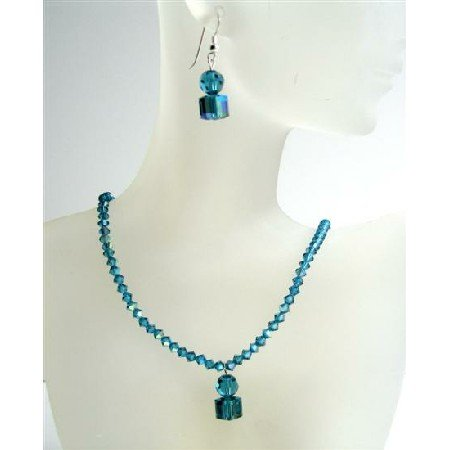 NSC412 Indicolite AB Swarovski Crystals Handmade Custome Jewelry w/Cute Dangling Necklace Set