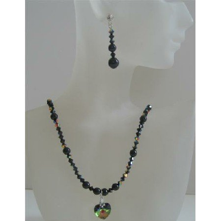 NSC436  Swarovski Mystic Pearls & Swarovski AB Jet Crystals Handmade Custom Jewelry Necklace Set