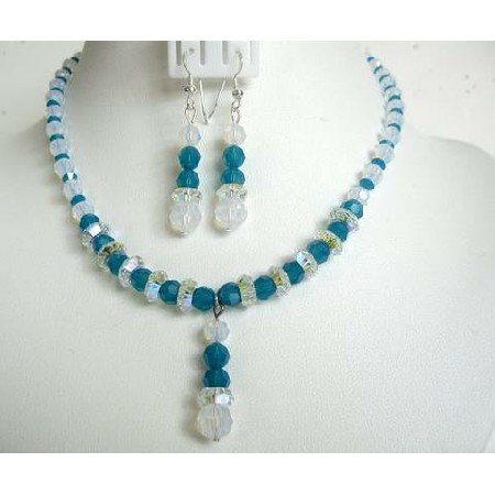 NSC276Genuine Carribean Blue Crystals&White Opal Crystals Artisan Jewelry Necklace Set w/Drop