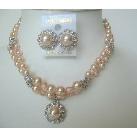 NSC201Genuine Swarovski Peach Crystals & Peach Pearls Jewelry Necklace Set Double String