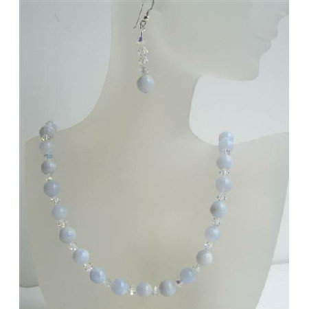 NSC406  Swarovski AB Crystals And Blue Agate Beads Jewelry Handmade Necklace&Earrings