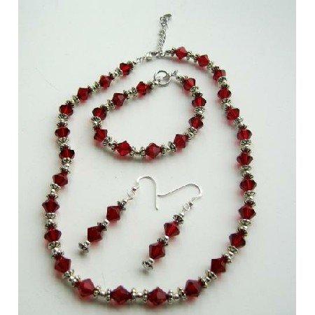 NSC376 Swarovski Siam Red Crystals w/Bali Silver Necklace Earrings Bracelet Complete Set