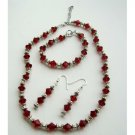 NSC376 Swarovski Siam Red Crystals w/Bali Silver Necklace Earrings Bracelet Complete Set
