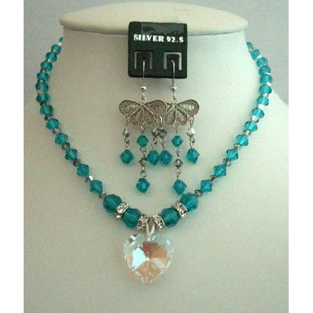 NSC261 Swarovski Blue Zircon&Meridian Blue Crystals w/AB Crystals Heart Pendant Necklace Set
