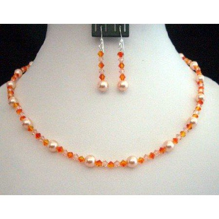 NSC214  Genuine Swarovski Crystals & Pearls In Peach & Fire Opal Crystals Necklace Set Handcrafted