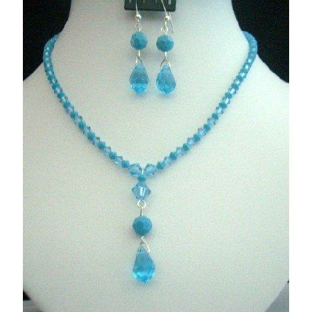 NSC210  Handcrafted Necklace Set In Genuine Swarovski In Aquamarine & Turquoise Crystals