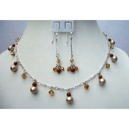 NSC375  Powder Almond Pearls w/ Swarovski Smoked Topaz Satin Crystals & Goldstone Beads