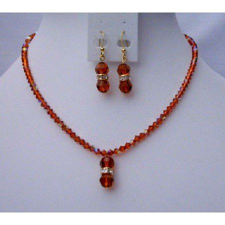 NSC388  Fall Color Jewelry Swarovski AB Indian Red Swarovski Crystals w/Cute Dangling Pendant
