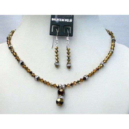 NSC365  Cute Jewelry Genuine Swarovski Dorado Sparkling Bicone Crystals Necklace Set Custom Jewelry