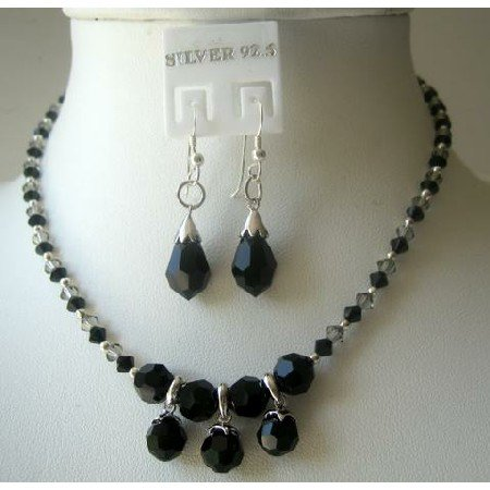 NSC311  Custom Handcrafted Jewelry Genuine Swarovski Jet Crystals w/ Sterling Silver Earrings