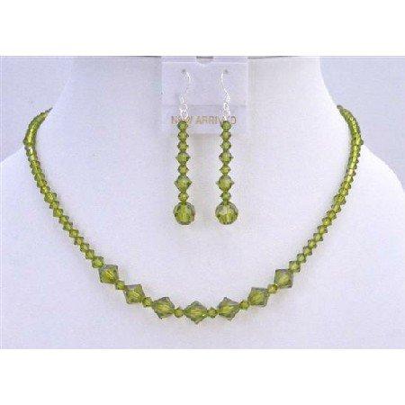 NSC619  Swarovski Olivine Crystals Handmade Jewelry Set