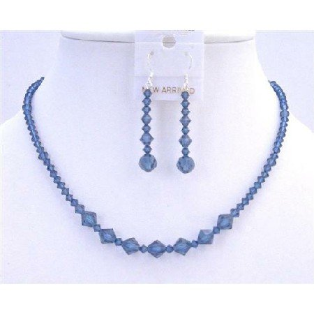 NSC622  Handmade Swarovski Crystals Necklace Set Montana Blue Swarovski Crystals Necklace Set