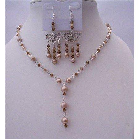 NSC457  Dark Brown Crystals Jewelry Set Smoked Topaz Crystals w/ Bronze Pearls Y Necklace Set