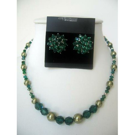 NSC310 Pearls & Crystals Jewelry Handcrafted Pearls&Crystals Necklace Set Genuine&Fine Jewelry