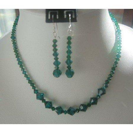 NSC136  Vintage Necklace Set in Genuine Swarovski Emerald Crystals