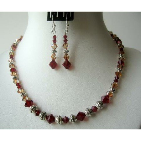 NSC321  Cool Sunset Set Siam Red Crystals & Copper Crystals w/ Bali Silver Party Jewelry Set