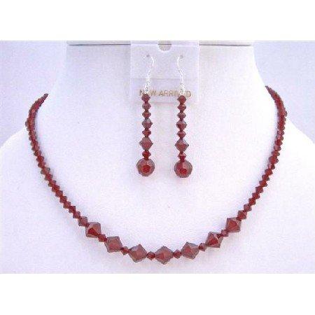 NSC620  Swarovski Crystals Jewelry Set Siam Red Crystals Necklace Set