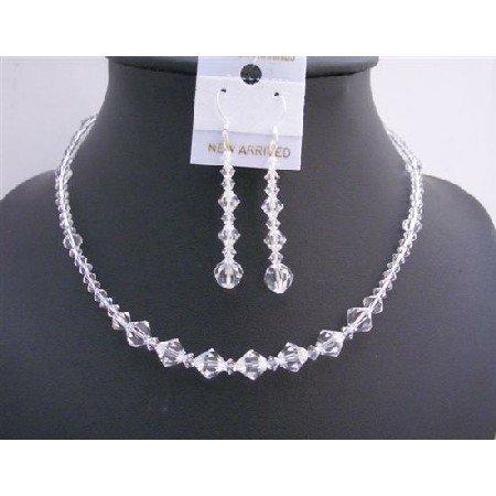 NSC597  Swarovski Clear Crystals Bridal Birdemaides Jewelry Set Custom Swarovski Crystals Jewelry