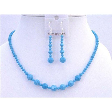NSC623  Turquoise Crystals Jewelry Set Handcraft Necklace Set