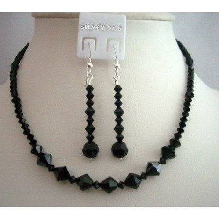 NSC359  Custom Handmade Jewelry Genuine Swarovski Jet Crystals Necklace Set