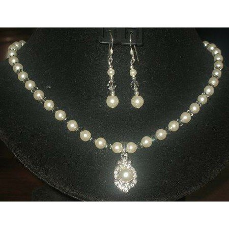 NSC102  Genuine Swarovski Cream Rose Pearls & Crystals Necklace Set Handcrafted Custom Jewelry