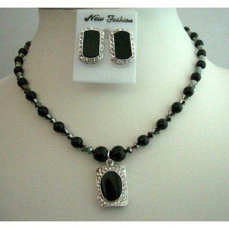 NSC258  Mystic Pearls Jewelry Genuine Swarovski Black Pearls Necklace Set w/ Onyx Stone