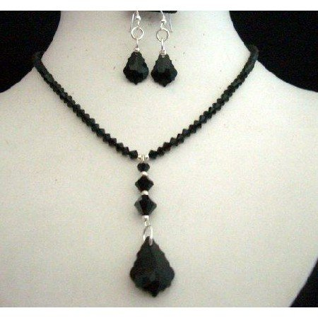 NSC216  Handcrafted Necklace Set in Genuine Swarovski In Jet Crystals