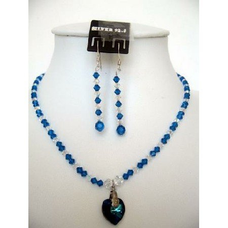 NSC105  Genuine Swarovski Blue & AB Crystals w/ Pendant Necklace Set