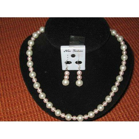 NSC003  Genuine White & Rosaline Pearls Necklace & Earrings Handcrafted Custom Jewelry