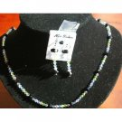 NSC005  Genuine Multicolor Crystals Lite Rose Peridot Topaz Lilac Shadow & Jet Crystals Necklace Set