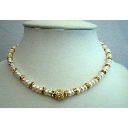 NSC202 Genuine White FreshWater Pearls Choker w/Rondells Gold Plated&Gold Plated Pendant Necklace