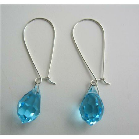 ERC314  Czech Aquamarine Crystals Teardrop Genuine Sterling Silver Hoop Earring