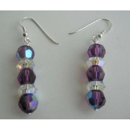 ERC203  Sterling Silver AB Amethyst Swarovski Crystals w/ AB Spacer Earrings