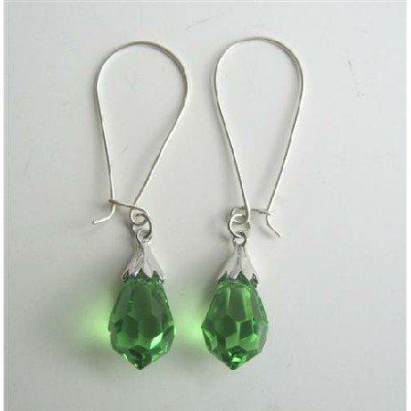 ERC321  Peridot Crystals Teardrop Genuine Czech Crystals & Sterling Silver 92.5 Hoop Earrings