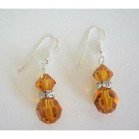 ERC214  Swarovski Topaz Crystals Earrings Round & Bicone Crystals w/ Silver Rondells